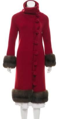 Oscar de la Renta Sable Fur-Trimmed Wool Cardigan Red Sable Fur-Trimmed Wool Cardigan