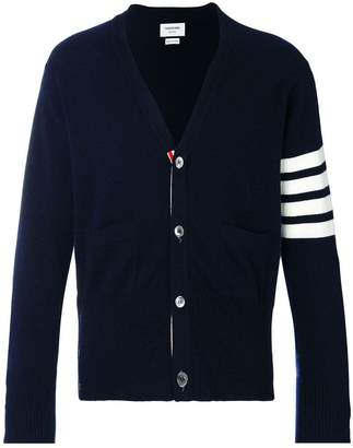 Thom Browne V-Neck Cardigan With 4-Bar Stripe In Navy Cashmere