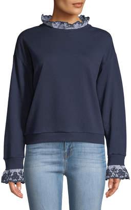 Free Generation Eyelet-Trimmed Pullover Sweatshirt