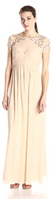 Marina Women's Power Mesh Dress with Illusion Bodice Beaded Shoulders $199 thestylecure.com