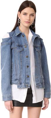 Style Mafia Cold Shoulder Denim Jacket $250 thestylecure.com