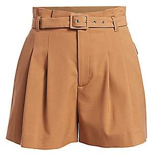 RED Valentino Women's High-Waisted Pleated Belted Shorts