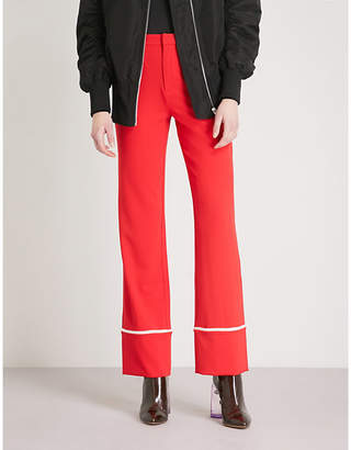 Mo&Co. Contrast-piping straight-leg crepe trousers