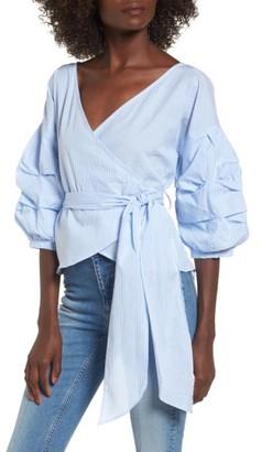 Women's Socialite Bubble Sleeve Wrap Top $49 thestylecure.com