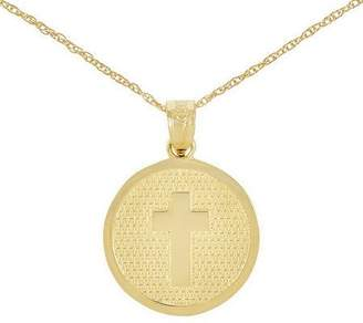 """Polished Choice of God Bless Round Pendant w/ 18"""" Chain, 14K"""