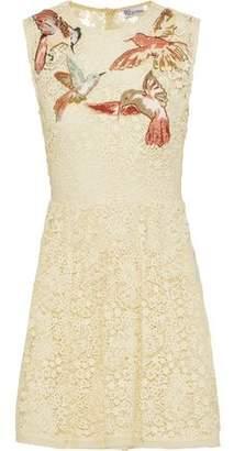 RED Valentino Embroidered Cotton Guipure Lace Mini Dress