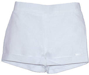 Carrera Pili Pull-Up Linen Shorts, White, Size 12M-3T