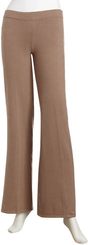 Minnie Rose Wide-leg Knit Pants, Hazelnut