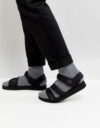 Asos DESIGN Sandals In Black With Tape Straps