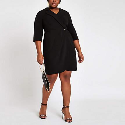 Womens Plus Black bodycon wrap tux mini dress