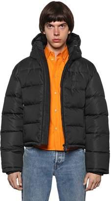 Balenciaga Hooded Nylon Cropped Down Jacket