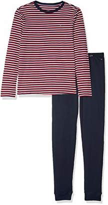 Tommy Hilfiger Boy's Ls Set Stripe Pyjama (White/Navy Blazer 103), (Size: 14-16)