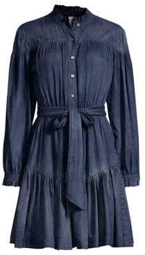Rebecca Taylor Ruffled Denim Shirtdress