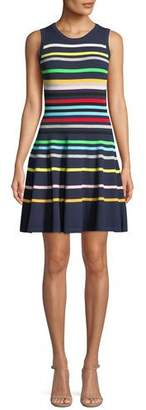Milly Rainbow Striped Flare Dress