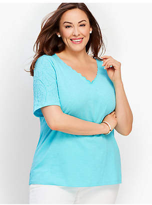 Talbots Scalloped V-Neck Embroidered-Sleeve Tee