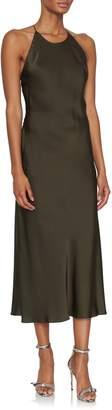 Rosetta Getty Cross Back Bias Satin Slip Dress