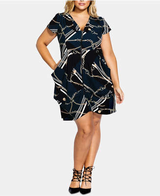 City Chic Trendy Plus Size Chain-Print Tunic Dress