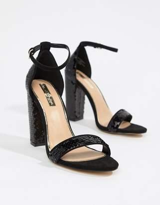 Miss Selfridge block heel sequin sandals in black