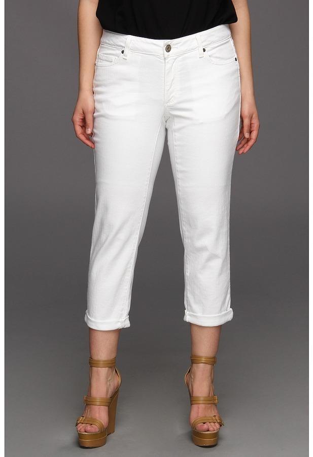 DKNY Plus Size Mercer Rolled Boyfriend (White) - Apparel