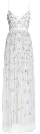 Astral Tie-Back Crepe-Paneled Embellished Tulle Gown