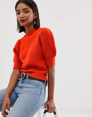 Asos Design DESIGN puff sleeve jumper in rib