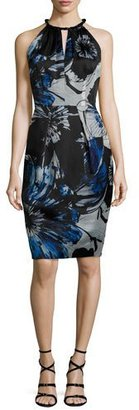 Carmen Marc Valvo Sleeveless Keyhole-Front Floral Sheath Dress $680 thestylecure.com
