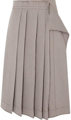 Cédric Charlier Pleated Plaid Cotton-blend Midi Skirt - Gray