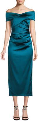 Talbot Runhof Poe Off-the-Shoulder Ruched-Bodice Satin Duchesse Cocktail Dress
