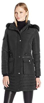 Kenneth Cole Women's Down Parka with Faux Fur Trim Hood $83.31 thestylecure.com