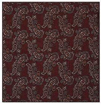 Paolo Albizzati Men's Paisley Wool-Cotton Pocket Square - Red