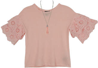 BY AND BY GIRL Byer California Scoop Neck Elbow Flutter Sleeve Blouse Girls