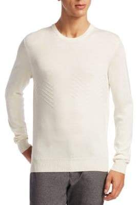 Saks Fifth Avenue COLLECTION Herringbone Crewneck Merino-Silk Sweater