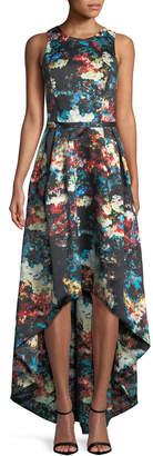 ML Monique Lhuillier Crisscross-Back Printed High-Low Gown