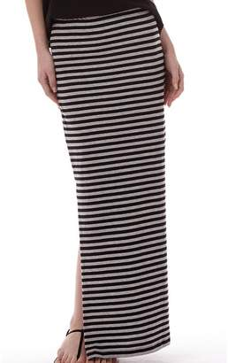 Only Womens Abbie Stripe Long Slit Skirt Black/Light Grey Marl