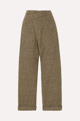 R 13 Cropped Prince Of Wales Checked Wool Straight-leg Pants - Brown