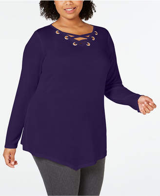 Belldini Belle by Plus Size Lace-Up Asymmetrical-Hem Tunic