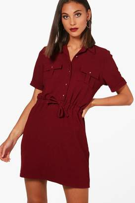 boohoo Daisy Tie Waist Shirt Skater Dress