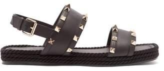 Valentino Rockstud Torchon Leather Sandals - Womens - Black