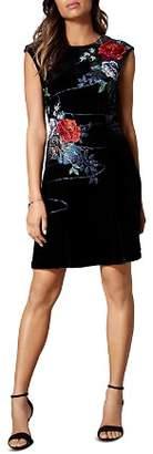 Karen Millen Floral-Embroidered Velvet Dress