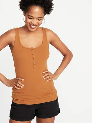 Old Navy First-Layer Fitted Rib-Knit Henley Tank for Women