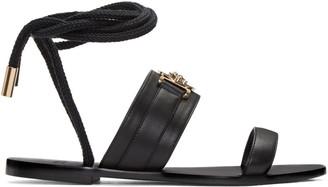 Versace Black Leather Medusa Sandals $675 thestylecure.com