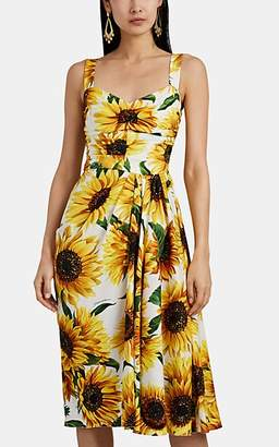 Dolce & Gabbana Women's Sunflower-Print Stretch-Silk Gathered Midi-Dress - Yellow