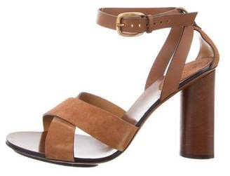Gucci Leather & Suede Ankle Strap Sandals