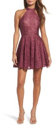 Women's La Femme Lace Halter Style Dress $298 thestylecure.com