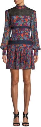 Saloni Dina Lace & Silk Long-Sleeve Dress