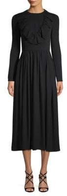 Valentino Long-Sleeve Silk Midi Dress