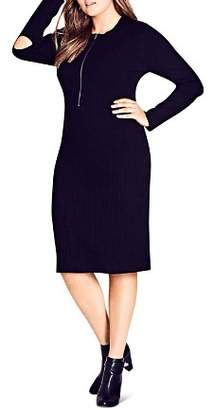 City Chic Plus Zip-Front Knit Dress