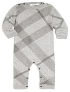 Burberry Baby's & Toddler's Cotton-Cashmere Check Coverall $185 thestylecure.com