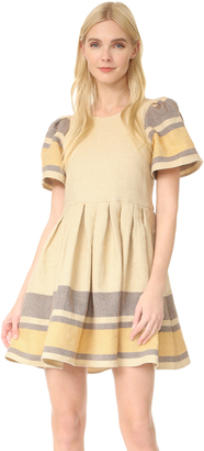 Sea Border Stripe Puff Sleeve Dress $445 thestylecure.com