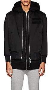 Neil Barrett MEN'S LAYERED TECH-SATIN BOMBER JACKET & NEOPRENE HOODED VEST-BLACK SIZE L